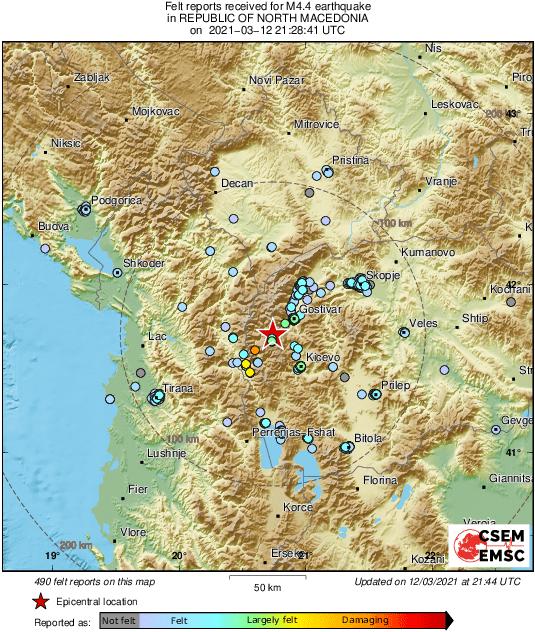 Областите каде најмногу се осетија двата последователни земјотреси